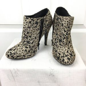 Qupid black and gold brocade booties